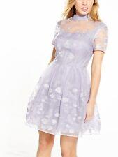 Chi London Petite Choker Mesh Mini  Floral Dress  16  Lilac/silver