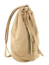 LONI Manc Maid Backpack Handbag Drawstring Sling Bag in Suede Faux Leather