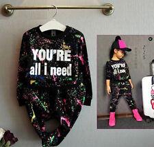 2pcs Kids Girls Fashion Outfits Long Sleeve Tops+Pants Kids Sport Cotton Clothes