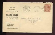 ADVERTISING AUTOMOBILE PARTS 1928 ENVELOPE GB KG5...WILLIAM CLARK USA