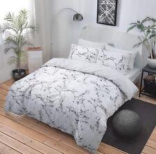 White Marble Effect Duvet Cover Set  Pillowcases Single Double King