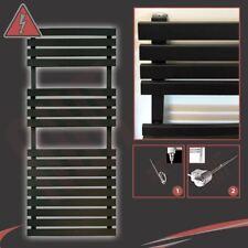 """500mm(w) x 1106mm(h) """"Solar"""" Black Electric Designer Heated Towel Rail - 300W"""