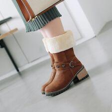 Vogue  Womens Retro Winter Fur Lined Rivet Round Toe Block Mid Heels Boots Y373