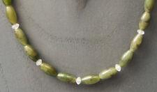 JADE Nephrit Kette Schmuck Oliven 44,5 cm mit Bergkristall    Schmücken-Sie-sich