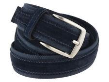 Cintura tela e camoscio 4 cm uomo, artigianale made in Italy, Blu