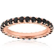 1 1/2 cttw Womens Stackable Round Black Diamond Eternity Ring 14 karat Rose Gold