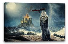 Lein-Wand-Bild: Game of Thrones Daenerys Targaryen vor Burg Meer Drachen Emilia