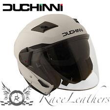 DUCHINNI D205 WHITE OPEN FACE MOTORCYCLE MOTORBIKE BIKE HELMET WITH OUTER VISOR