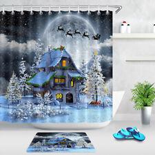 Shower Curtain Hooks Bathroom Mat Christmas Night Snow Scene House Flying Deer