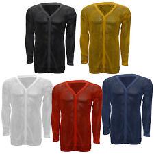 Ladies Long Sleeve String Vest Cardigan AMIR Premium 100% Cotton Mesh Top