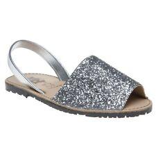 New Womens XTI Metallic Palma Leather Sandals Flats Slip On