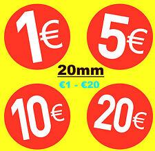 20mm Rojo Brillante EURO € Etiquetas Precio Pegatinas/Etiquetas Adhesivas -