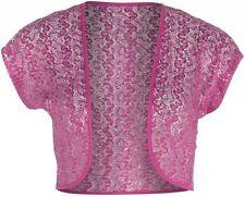 Womens New Cerise  Sequin Lace Bolero Shrug Top Size 14 16 18 20 22 24 26 Ladies