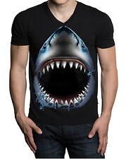 Men's Shark Face Animal Print V-neck Black T Shirt Muscle Beast Dope Tee
