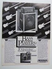 retro magazine advert 1983 MESA BOOGIE bass amp
