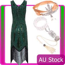 Ladies 20s 1920s Roaring Flapper Costume Sequin Green Gatsby 20's Fancy Dress