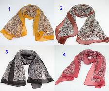 Women Fashion Long Soft Chiffon Silk Wrap Lady Shawl Leopard Scarf Hijab UK