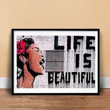 LIFE IS BEAUTIFUL GRAFFITI STREET SPRAY ART POSTER GIFT BANKSY (unframed)
