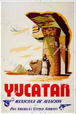 VINTAGE PAN AM COMPAGNIA AEREA volare a Yucatan POSTER A3/A4 stampa