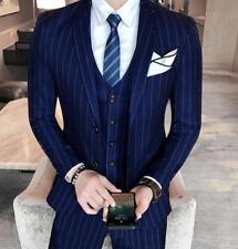 Mens Slim Fit Wedding Korean Formal Stripes Coat Pants Vest Suits Blazer Party