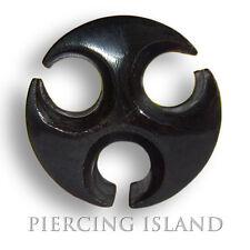 8mm - 14mm BLACK HORN chirurgico Flesh Tunnel Plug Nero Orecchio Piercing 201