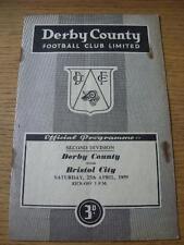 25/04/1959 Derby County v Bristol City  (Creased, Folded, Rusty Staples & Marks)