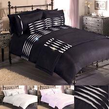 """""""Durban"""" Luxury Diamante Duvet Quilt Cover Bedding Set In 3 Colours"""
