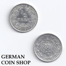 Germany Kaiserreich 1/2 Mark 1905-1919 A D E F G J - VORZÜGLICH - SILBER