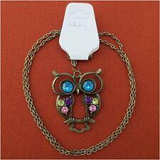 Halskette Vintage Antik Gold Messing Eule Strass Kette lang Neu bunt Legierung