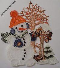 PLAUENER SPITZE Fensterbild Schneemann mit VOGELHAUS Fensterbilder Weihnachten