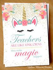Unicorn Thank You Card Teacher Card Teaching Assistant Magic Gift Cute End Term