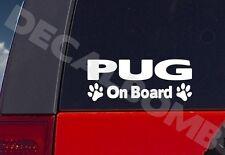 Pug On Board paw print decal / sticker dog puppy
