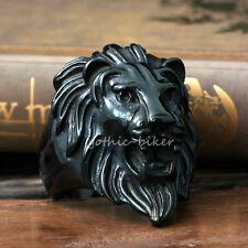Black Lion Head 316L Stainless Steel Men's Biker Ring King Of Animal Jewelry