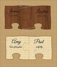 Personalised Mr & Mrs Couple's Wood Puzzle Coasters, Valentine, Wedding, Gift