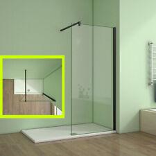 Black Walk In Wet room Shower Enclosure Nano Glass Screen Panel H1900 Stone Tray