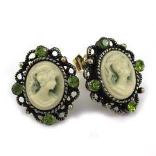 Dark Green Romantic Cameo Stud Post Pierced Earrings Antique Vintage Style o1
