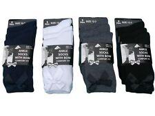 6 Pairs Of Girls Bow Ankle Socks, White Grey Black Ribbon Ankle School Socks