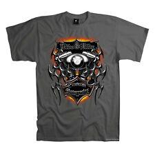 Biker Custom Motorcycles Twin Motif Motorbike T-Shirt 4211 Grey