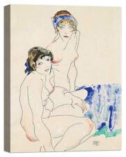Stampa su Tela Vernice Effetto Pennellate EGON SCHIELE Two Female Nudes