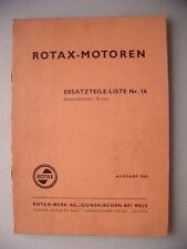 Rotax-Motoren Ersatzteile-Liste Nr. 16 Stationärmotor 75 ccm Ausgabe 1963 Motor