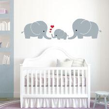 Famiglia di elefanti, MAMMA, papà, Baby-Baby Nursery Muro ARTE Adesivo