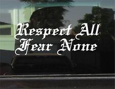 "RESPECT ALL FEAR NONE  -  8"" DIE CUT VINYL DECAL/STICKER"