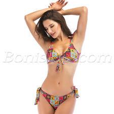 2pcs Women Retro Bohemia Padded Push-up Strap Bikini Swimwear Swimsuit Beachwear