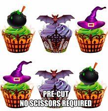 Pre-Cut Halloween Bruja sombreros murciélagos Caldero Comestibles Cupcakes Muffins Galletas Toppers