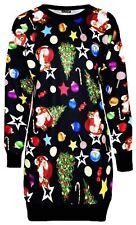 Ladies Xmas Tree Santa Gift Bag Thermal Knitwear Sweat Shirt Jumper Dress Top