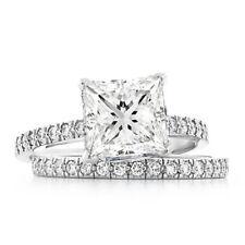 1.78 Ct. Princess Cut Diamond Engagement Set 18K Gold