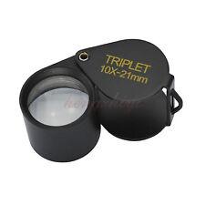10X 21MM Jewelry Diamond Gem Triplet Loupe Foldable Eye Magnifier Glass Lens