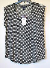 Chaps by Ralph Lauren Womens Black Geometric Sleeveless Blouse Tank Top S Small
