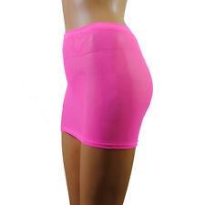 Mini Skirt Pink Neon Net Mesh Sexy See Through Stretch Club Lingerie Womens S58
