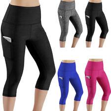 bdc3f56f459cb6 Women's Sports Yoga Fitness Capri Leggings Gym 3/4 Pants Pocket Cropped  Trousers